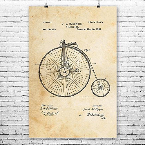Big Wheel Bicycle Velocipede Poster Art Print, Bicycle Wall