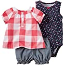Carter's 3 Piece Diaper Cover Set 121g385, Red Gingham, 6 Months