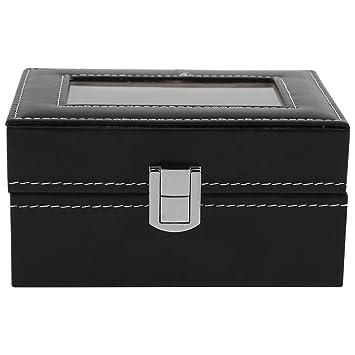 Caja para Relojes Caja de reloj organizador Caja, Estuche para relojes 3 ranuras de cuero de ...