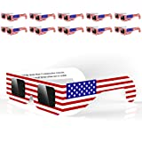 (10 pairs) Solar Eclipse Glasses for the Great American Eclipse 2017 Eye Protection, CE and ISO Certified, Safe Solar Viewing, Viewer and Filter-The American Flag