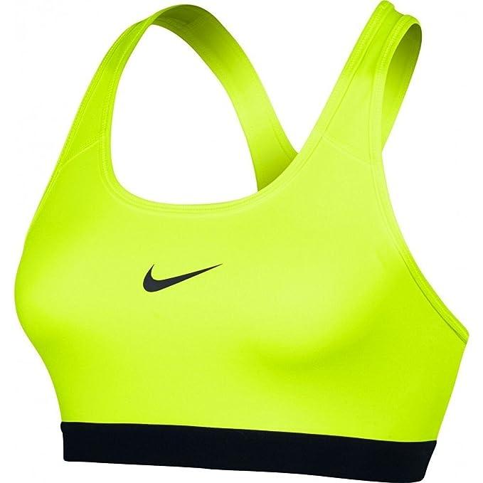 sujetador deportivo amarillo neón Nike con logo