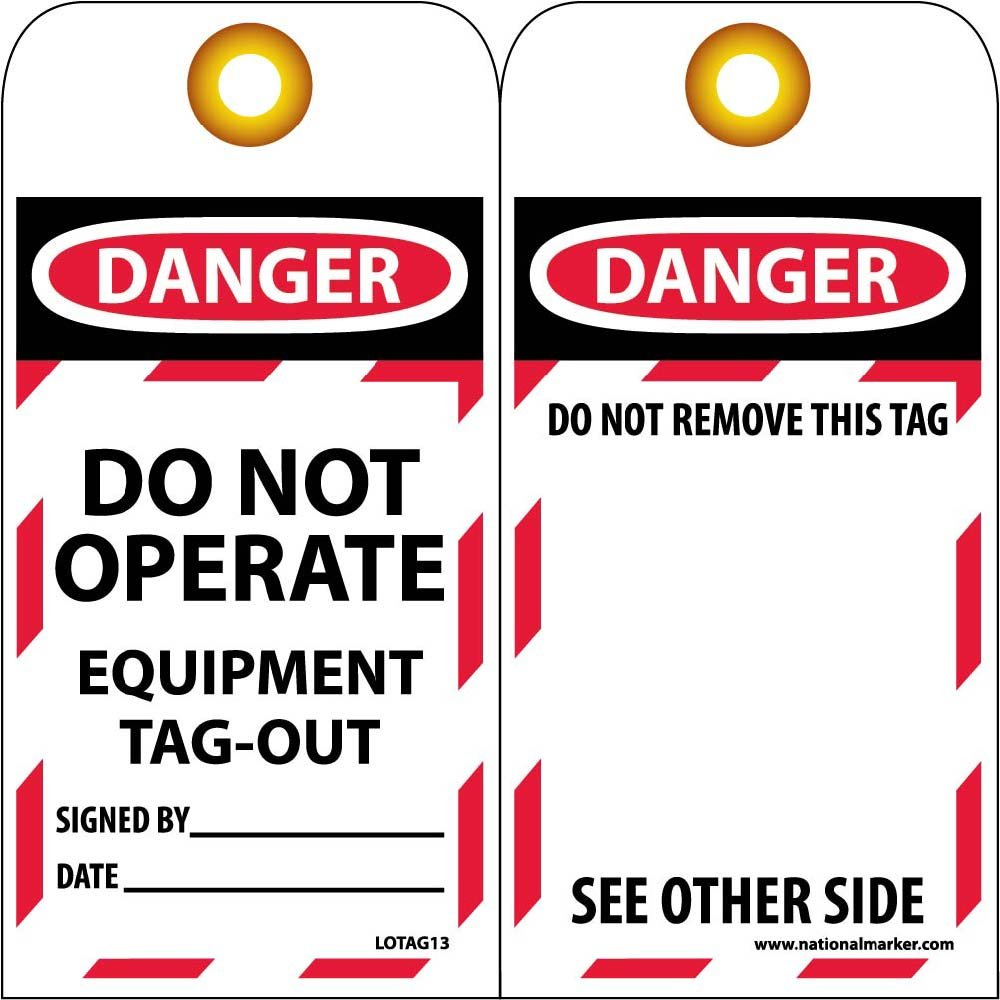 National Marker Corp. LOTAG13-25 Danger Do Not Operate Equipment Tag-Out Tag