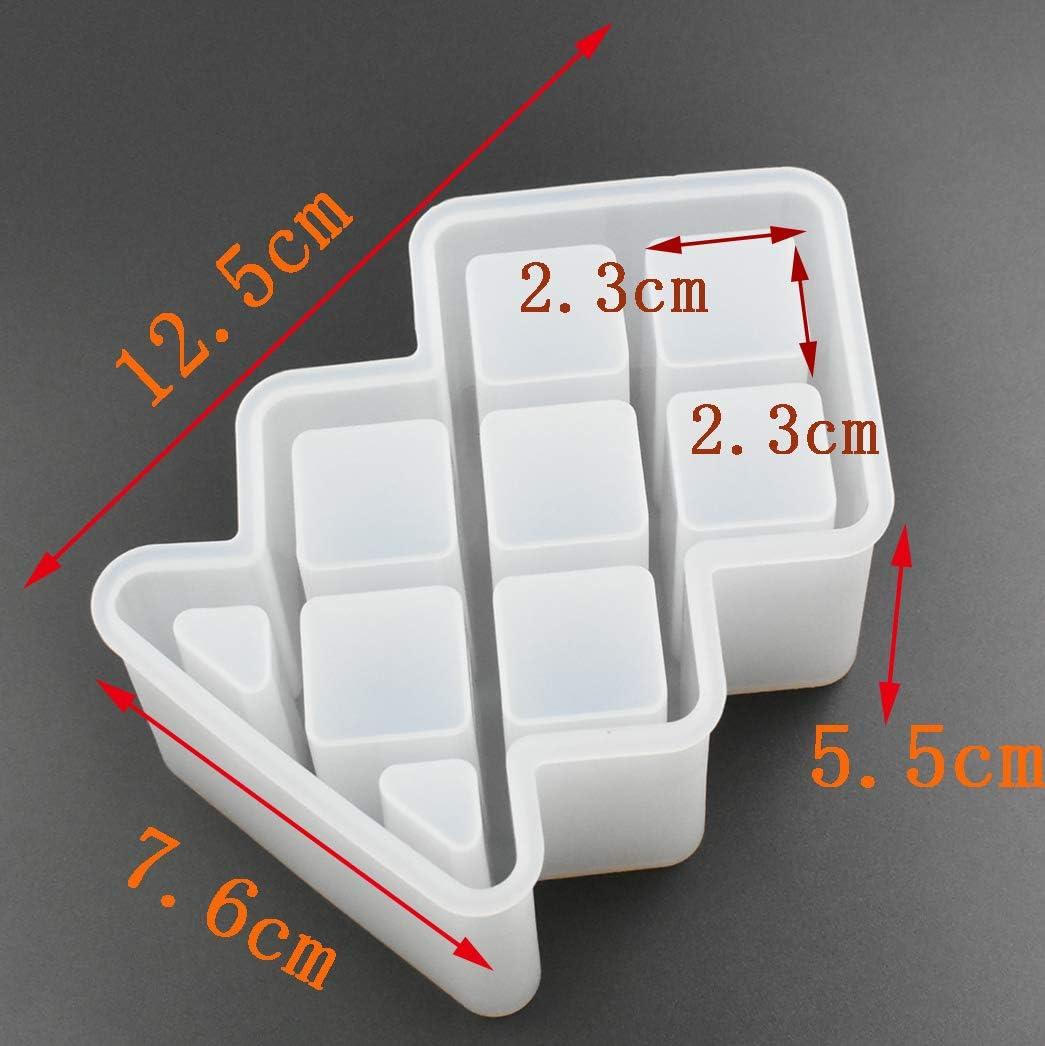 Lipstick Organizer Epoxy Mold DIY Resin Casting Storage Silicone Mold 6-Cavity,Fit for Square Tube Lipstick 2.3 x 2.3cm