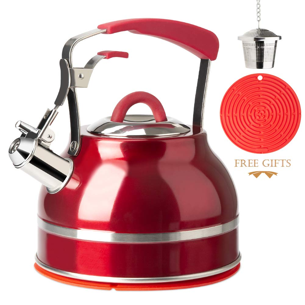 Secura Whistling Tea Kettle, 2.3 Qt Tea Pot, Stainless Steel Hot Water Kettle for Stovetops with Silicone Handle, Tea Infuser, Silicone Trivets Mat, Red by Secura