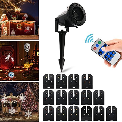 Vansky Halloween LED Projector Light with 15 Replaceable Patterns, RF Remote Control, IP65 Waterproof for Decoration Lighting on Christmas Halloween Holiday Party