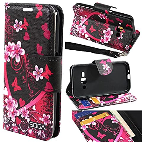 Galaxy Luna Case, Samsung Galaxy Express 3 Wallet Case, SOGA [Pocketbook Series] PU Leather Magnetic Flip Wallet Case for Samsung Galaxy Luna 4G LTE / Express 3 - Pink Heart With (Galaxy 3 Phone Flip Cases)