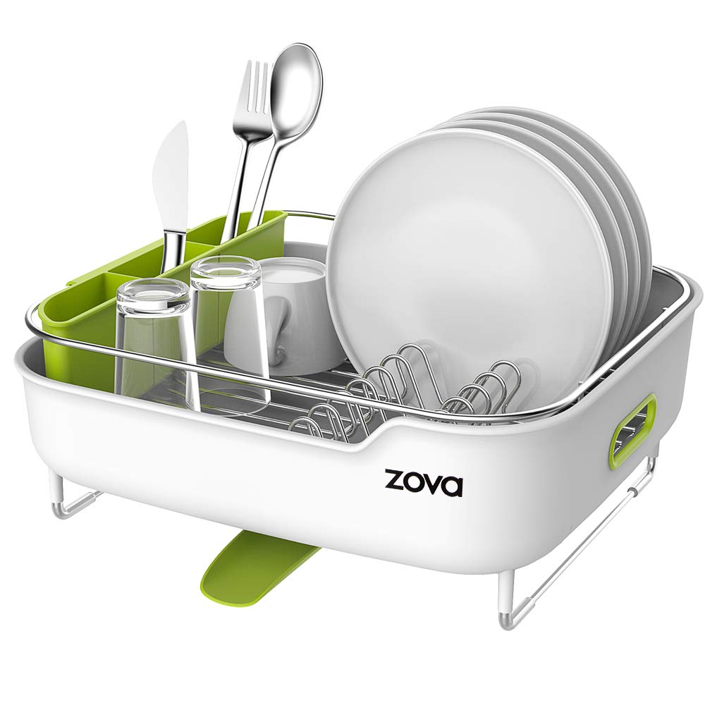 zova Premium Stainless Steel Dish Drying Rack with Swivel Spout, Dish Drainer Utensil Organizer for Kitchen– Medium, White &Green