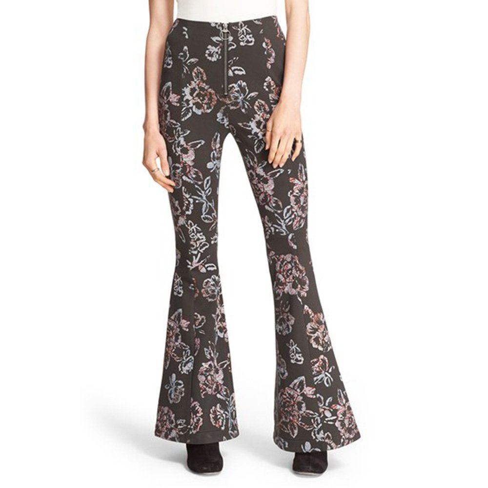 Free People Womens Born To Be Wild Floral Print Bell Bottom Pants Black 0