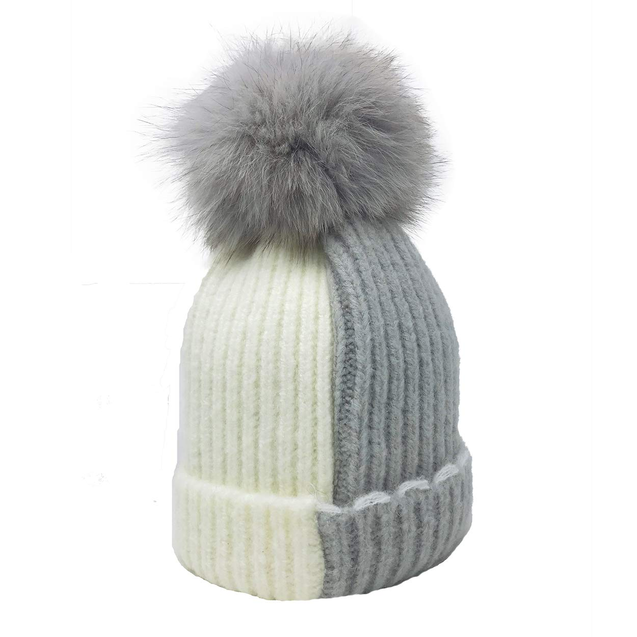 8d936ee8739 Galleon - Xsby Baby Kids Winter Knitted Faux Fur Ball Pom Pom Cap Beanie  Hat Baby Light Grey And White