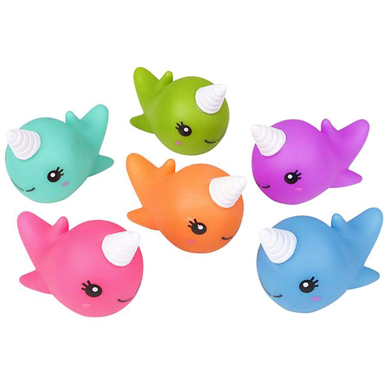 HAPPY DEALS ~ 12 Pack 2 Rubber Water Squirting NARWHAL Figures