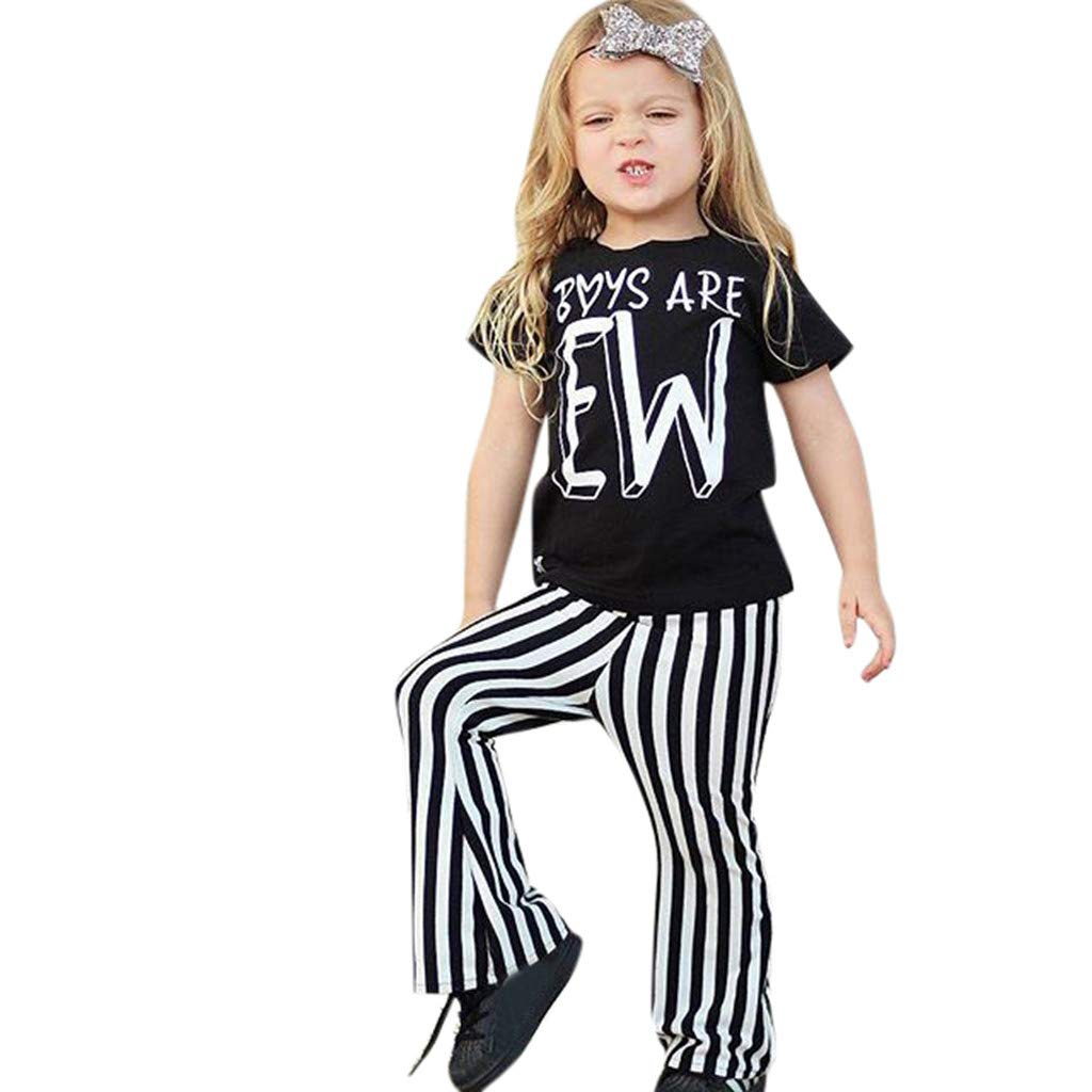 Litter Girls Toddler T Shirt Outfits, Lovely Letter Print Tops+Summer Stripe Long Pants Clothes Set+Headband (120 (5-6Y), Black)