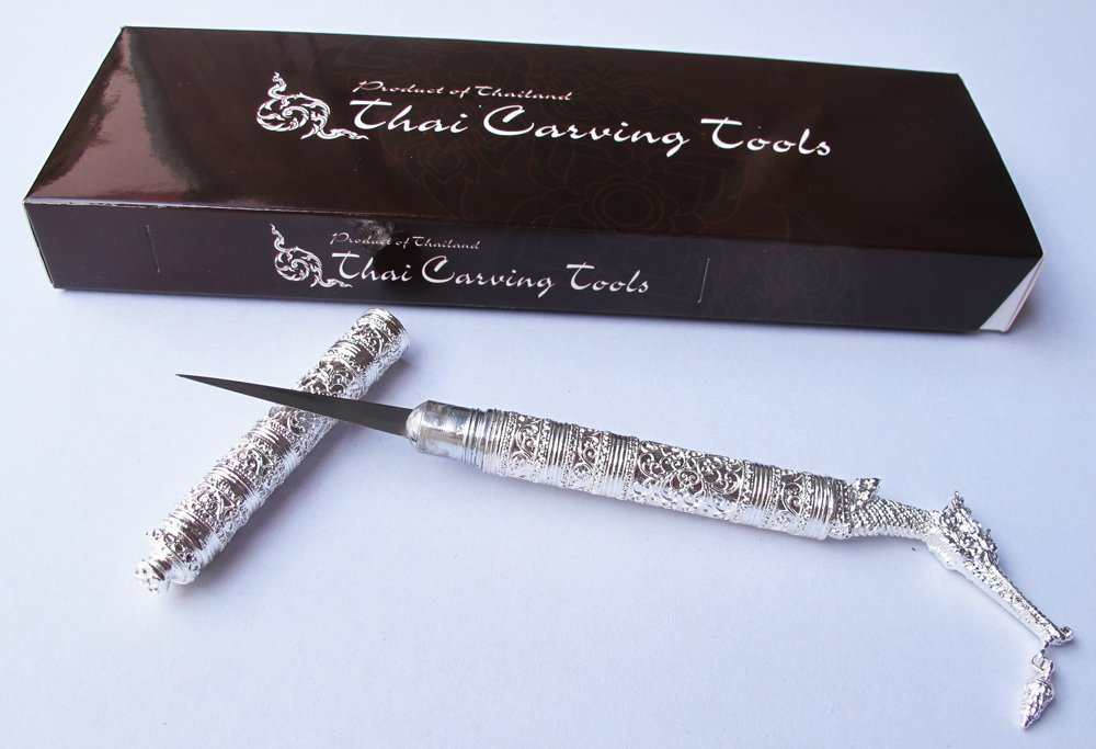 SUPHANNAHONG THAI FRUIT AND SOAP CARVING KNIFE KNIVES BRASS HANDMADE SILVER COLOR