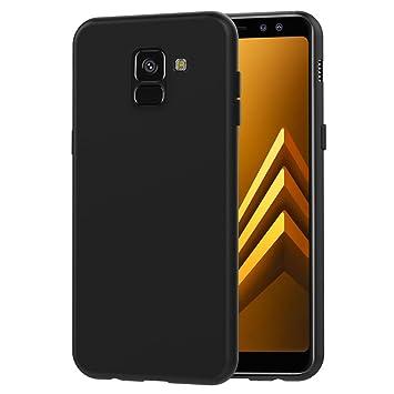 ivoler Funda Carcasa Gel Negro Compatible con Samsung Galaxy A8 2018, Ultra Fina 0,33mm, Silicona TPU de Alta Resistencia y Flexibilidad