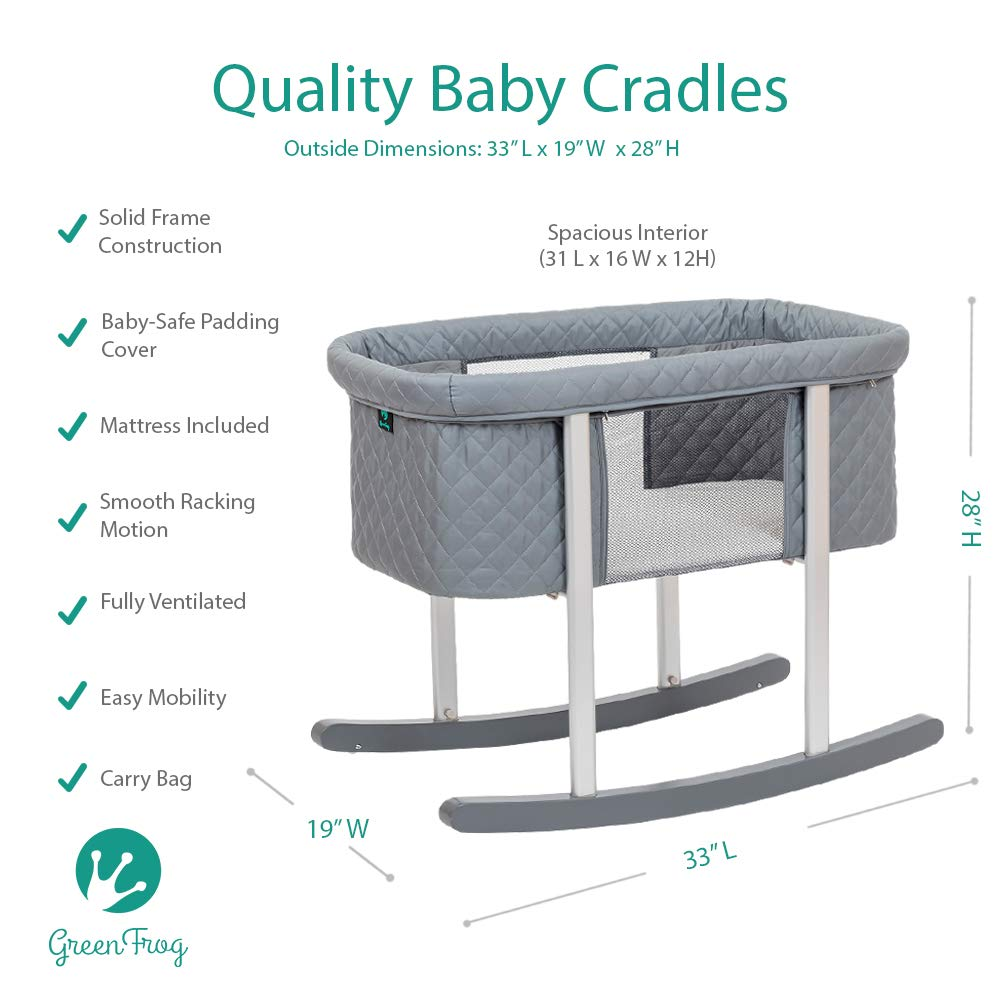 Great for Newborns and Infants Safe Mattress Includes Wheels for Easy Movement High End Washable Fabric Lightweight /& Transportable Baby Bassinet Cradle Includes Gentle Rocking Feature