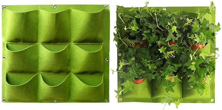 Wall-Mounted Planting Bags Hangers Outdoor Indoor Vegetables Flowers Growing Container Pots,9 Pocket Amatt Garden Planter