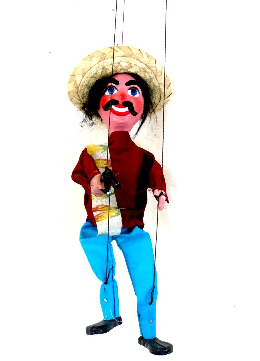 Leos Imports (TM) Mexican String Puppet Marionette Bandido w/Gun