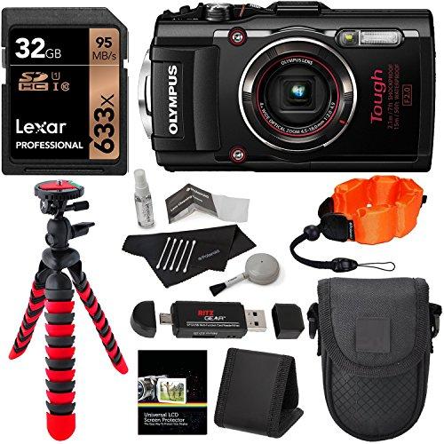 Olympus TG-4 16 MP Waterproof Digital Camera with 3-Inch LCD (Black) + Lexar 32GB Memory Card + 12