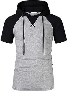VPASS Camiseta para Hombre, Verano Manga Corta Patchwork Sudadera con Capucha Moda Diario Slim Fit Casual T-Shirt Blusas Camisas Camiseta Suave básica Camiseta