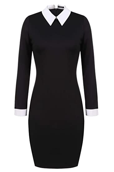 24d1355aacfa3 ACEVOG Womens Formal Black Peter Pan Collar Wednesday Addams Pencil  Business Dress
