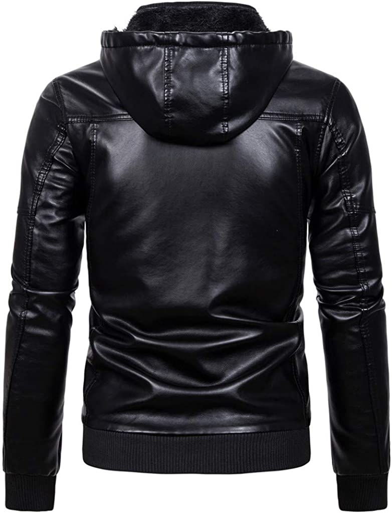 eipogp Mens Winter Faux Leather Jackets Thicken Sherpa Lined Outwear Casual Motorcycle Coat with Hood