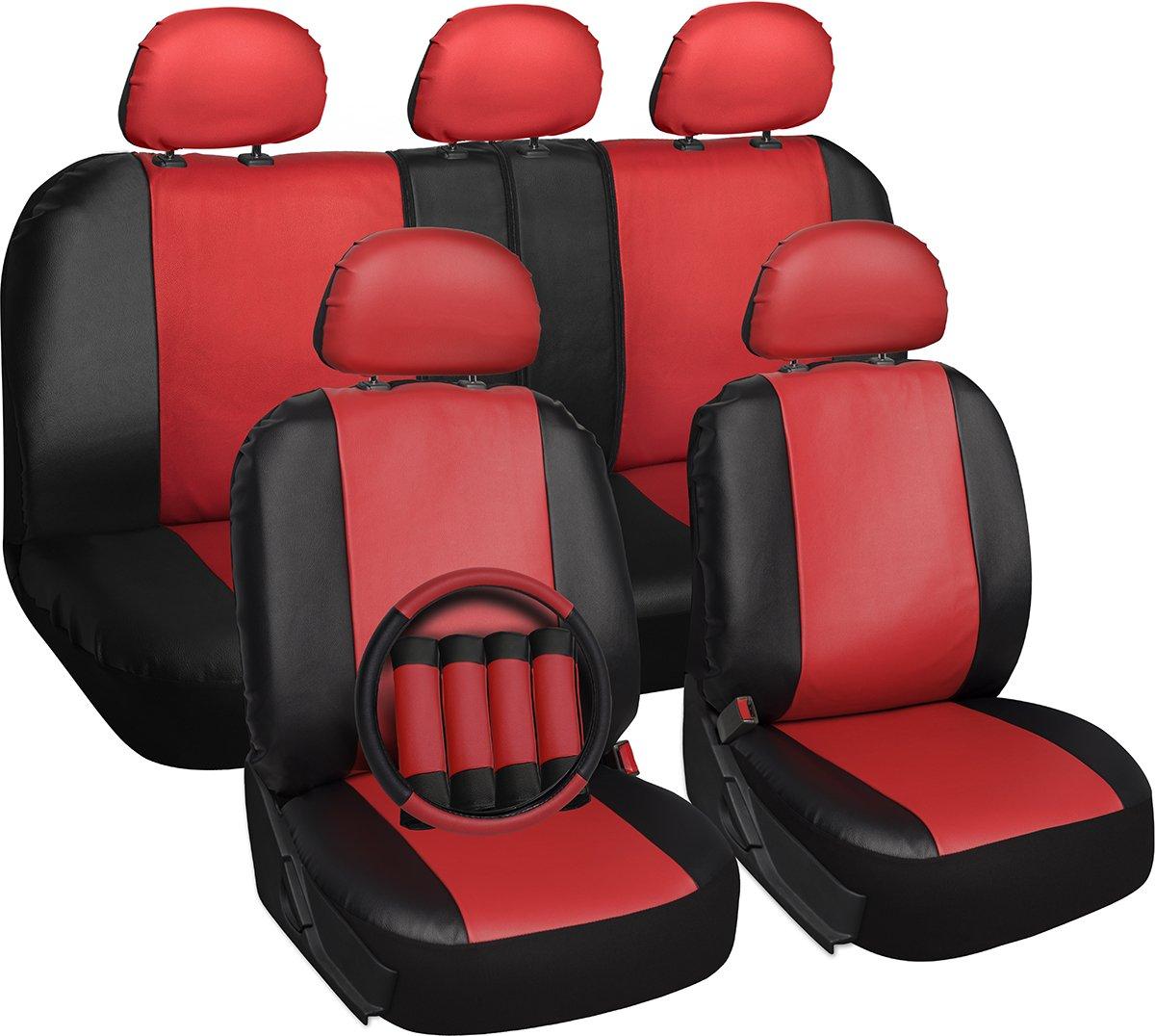 Oxgord 17pc Set PU Leather Red Amp Black Auto Seat Covers