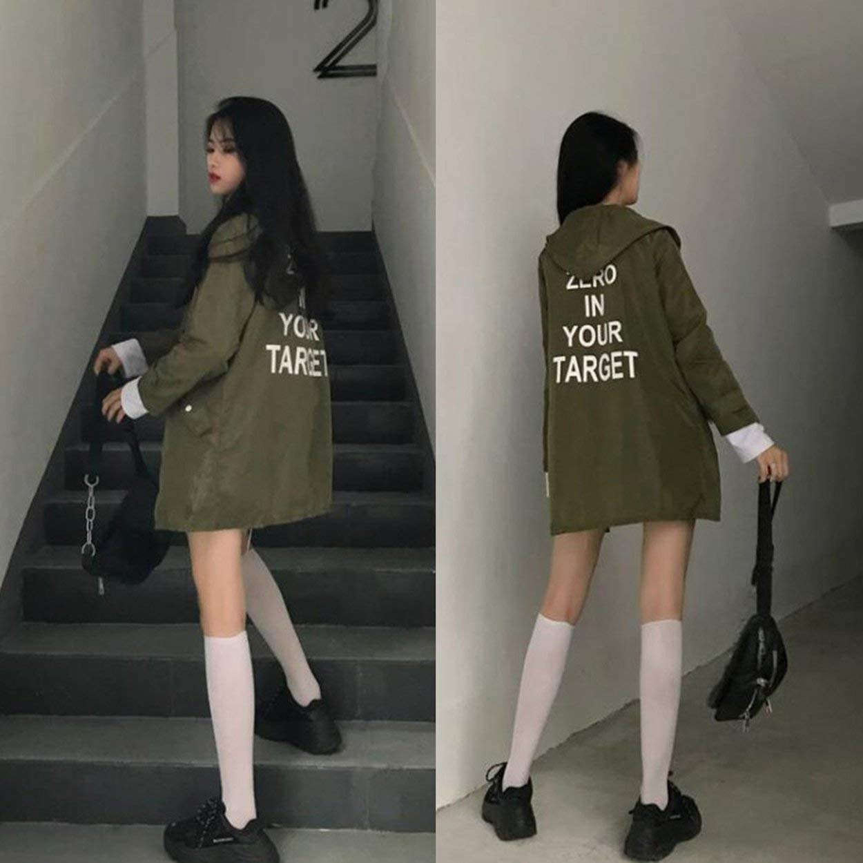 anyilon Korean Fashion Women Spring Autumn Loose Type Jacket Outwear Letter Printed Long Style Female Jacket Coat with Zipper