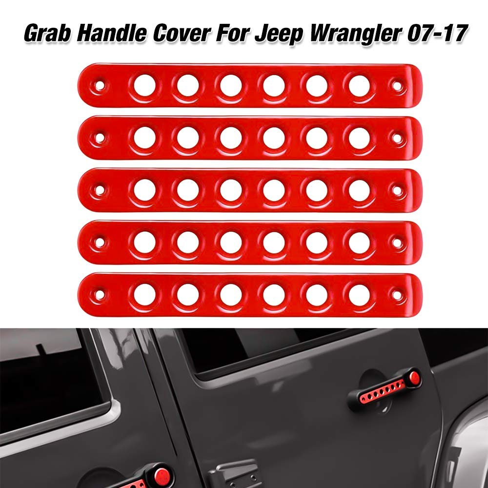 Grab Handle Inserts Cover+Push Button Knobs Cover Trim for 2007-2017 Jeep Wrangler JK & Unlimited (Silver BORDAN