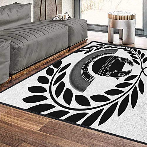 Toga Party Graceful Area Rug,Ancient Greek Figure Classic Mythological Hero Fighter Illustration Print Chic Geometric Design Black and White 79
