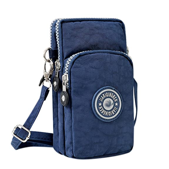 Bags us Small Crossbody Bag 3-Layers Zipper Coin Purse Wristlet Purse Waterproof Nylon Shoulder Strap Cellphone Pouch for Women and Girls