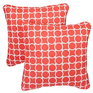 Mozaic Sabrina Corded Indoor/Outdoor Square Pillows, 18-Inch, Links Coral, Set of 2