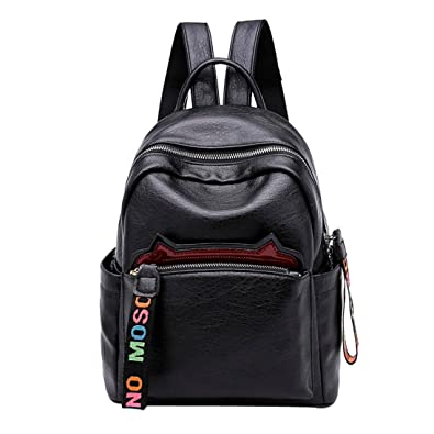 7c37d150e23f JURTEE Fashion Designs Women Leather Cat Ear Backpack Shoulder Crossbody Bag  Travel Bag Student Bag (