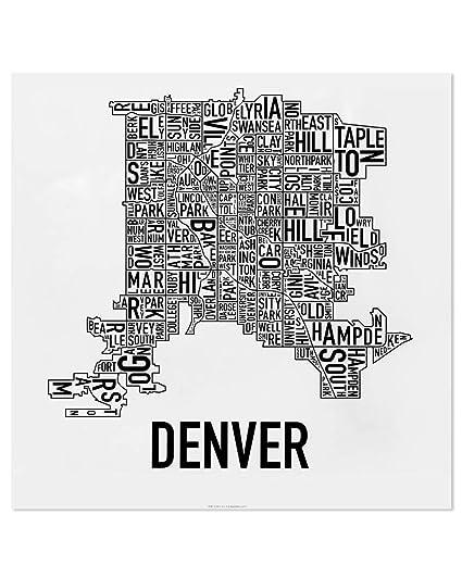 Amazon.com: Denver Neighborhoods Map Art Poster, Black & White, 18