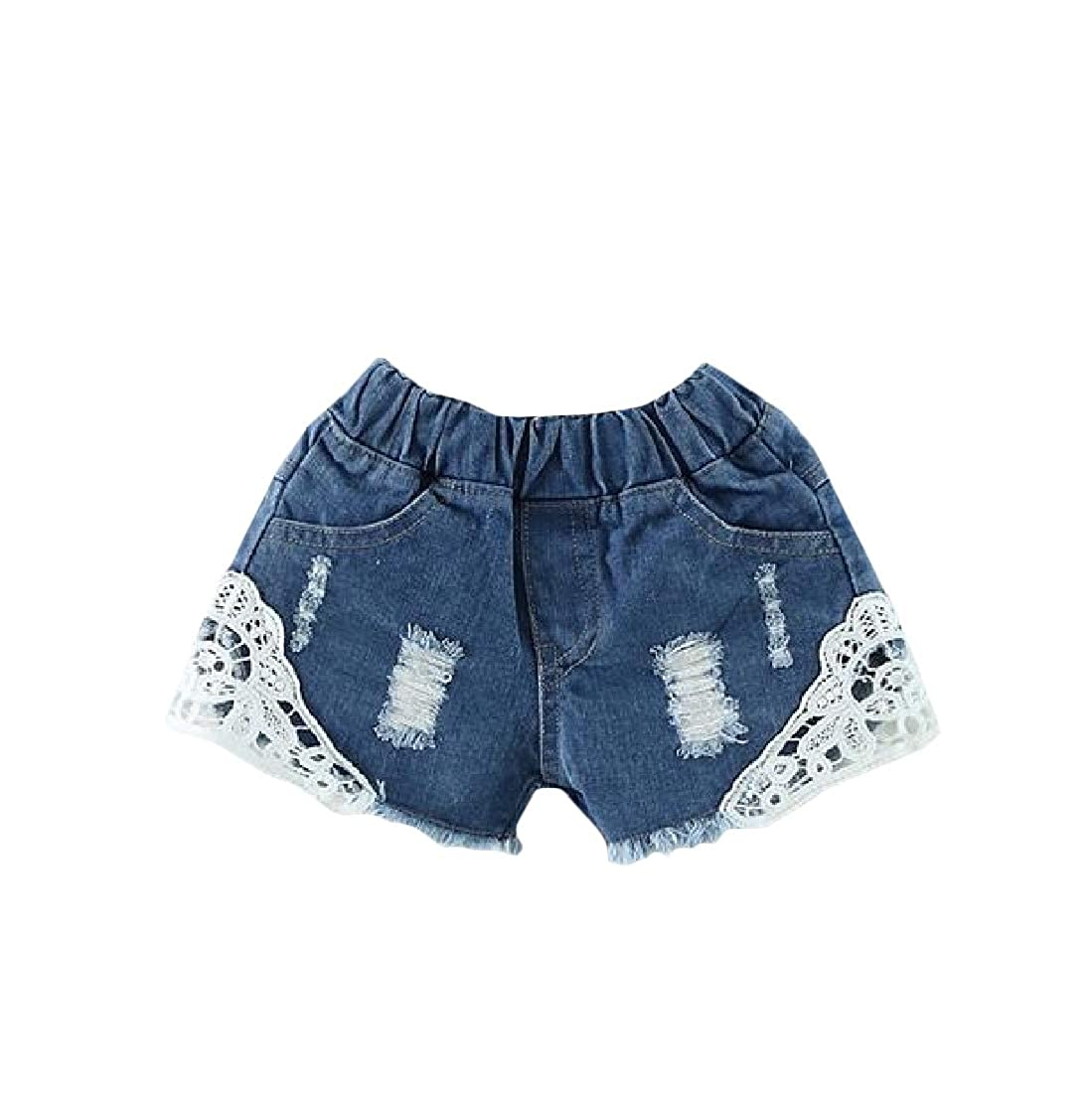 Wofupowga Girls Casual Cute Ripped Cut Off Denim Lace Jean Short