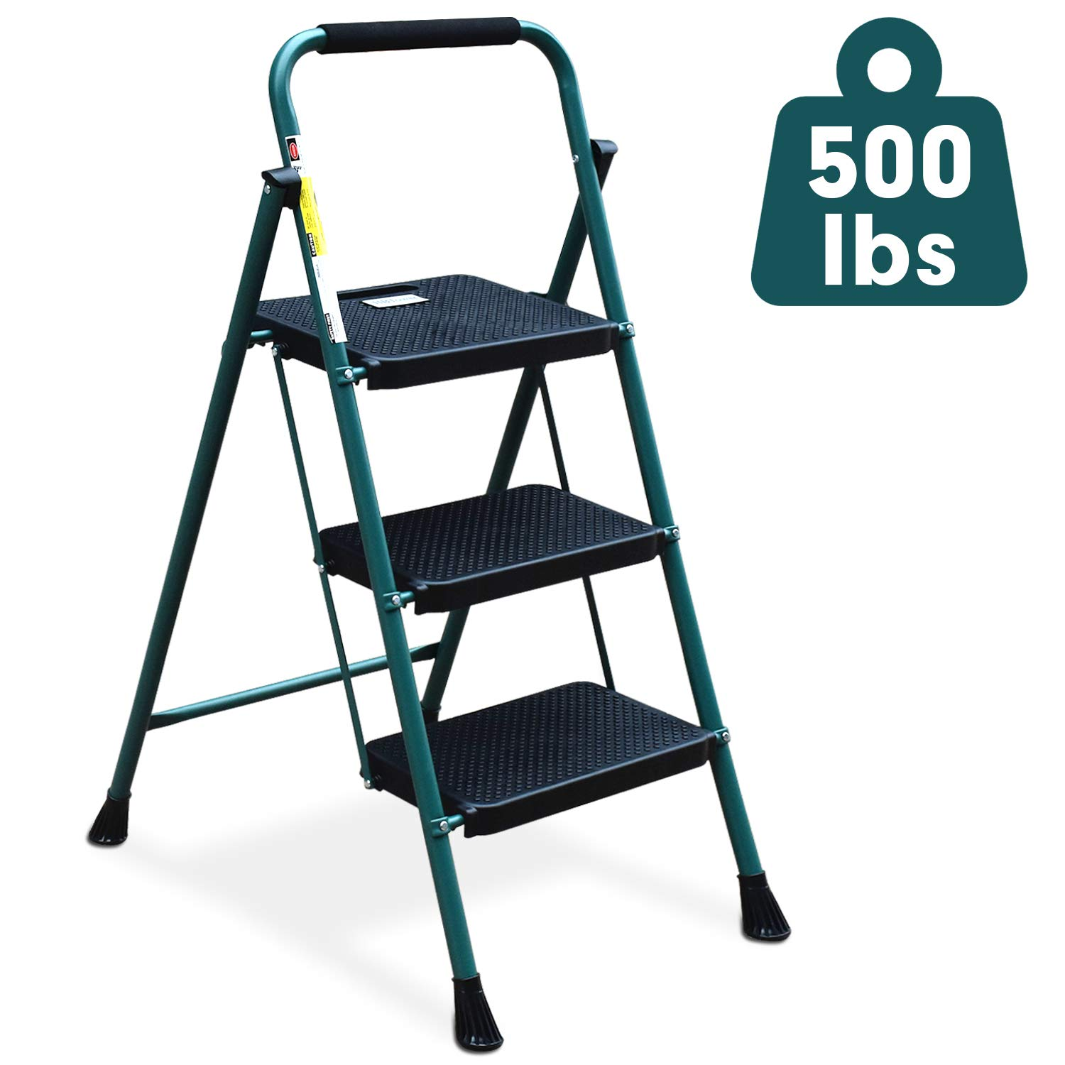 3 Step Ladder, HBTower Folding Step Stool with Wide Anti-Slip Pedal, Sturdy Steel Ladder, Convenient Handgrip, Lightweight 500lbs Portable Steel Step Stool, Green and Black