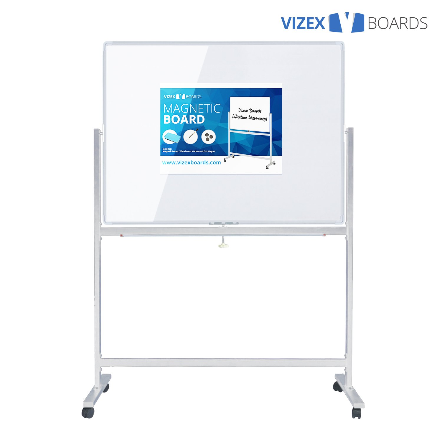 Vizex Magnetic Dry Erase Board with Stand (48'' x 36'' Whiteboard with Stand)