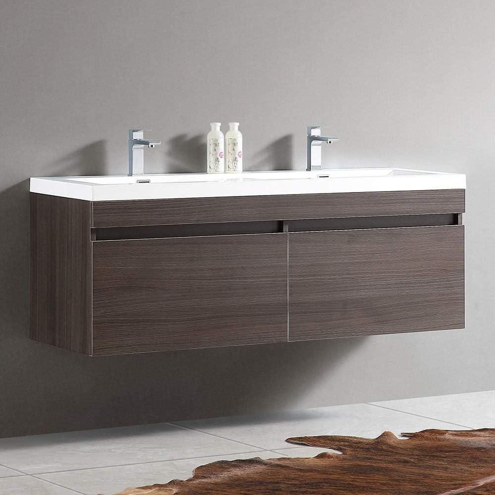 Fresca Largo 57 Teak Modern Double Sink Bathroom Cabinet w//Integrated Sinks
