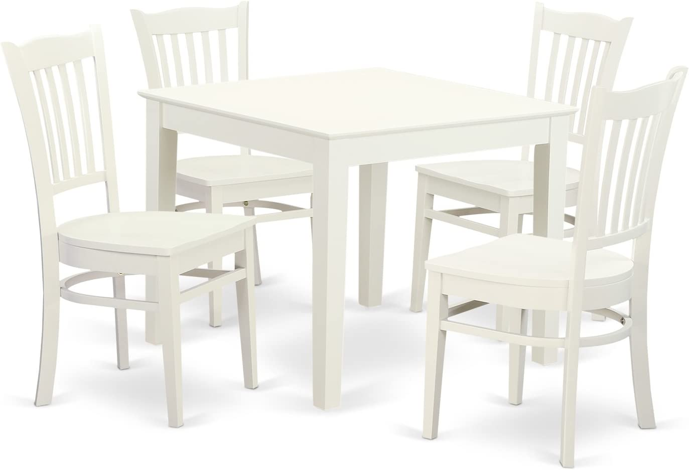 OXGR5-LWH-W 5 PC Kitchen Table and 4 Wood Dining Chairs in Linen White