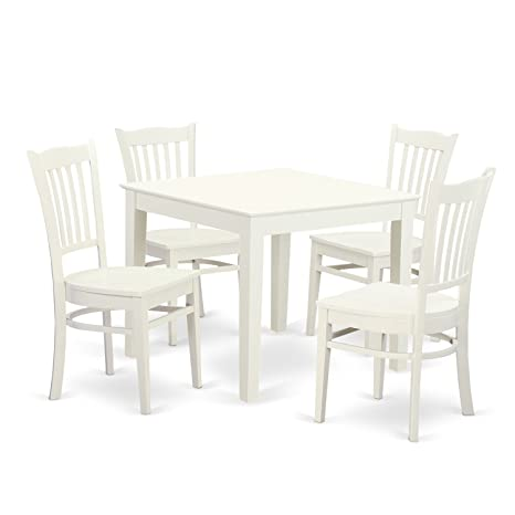 Stupendous East West Furniture 5 Piece Oxford Kitchen Table And Four Solid Wood Dining Chairs In Linen White Finish Onthecornerstone Fun Painted Chair Ideas Images Onthecornerstoneorg