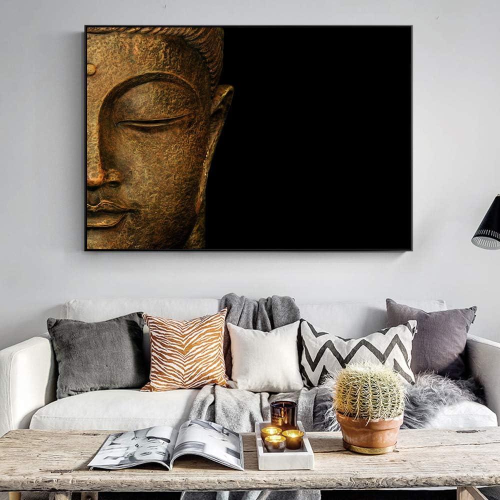 SADHAF Estatua de Buda clásica Pintura al óleo Mural religioso Estatua de Buda Pintura al óleo Impresión de la lona Sala de estar Arte de la pared A2 40x50cm