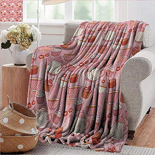 Outdoor Blanket,Cartoon,Teapots Cups with Polka Dots Patterns Cherries Cakes Tea Coffee Pattern,Pink Orange and Red,300GSM,Super Soft and Warm,Durable Throw Blanket 35