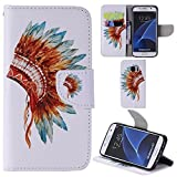 Ooboom® Samsung Galaxy S7 Case PU Leather Flip Cover Wallet Stand with Card/Cash Slots Pouch Magnetic Clasp for Samsung Galaxy S7 - Indian Headdress