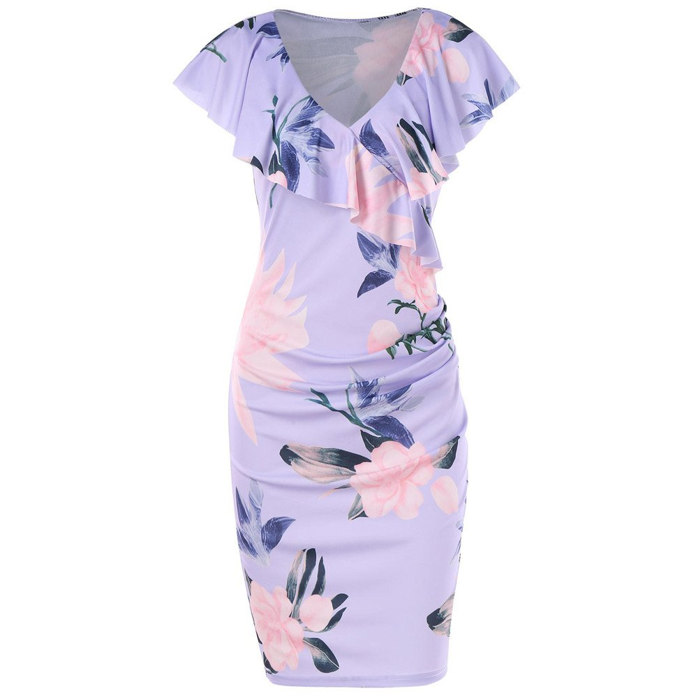 Women's Vintage Floral Ruffle Short Sleeve Party Sexy Bodycon Dress Flounce Knee Length Tunic Beach Dress Purple