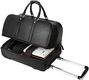 Leathario Men's Leather Luggage Wheeled Duffle, Leather Travel Bag (Black)