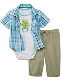 Amazon Com Little Wonders Infant Boys 3p Baby Outfit Shirt Pants