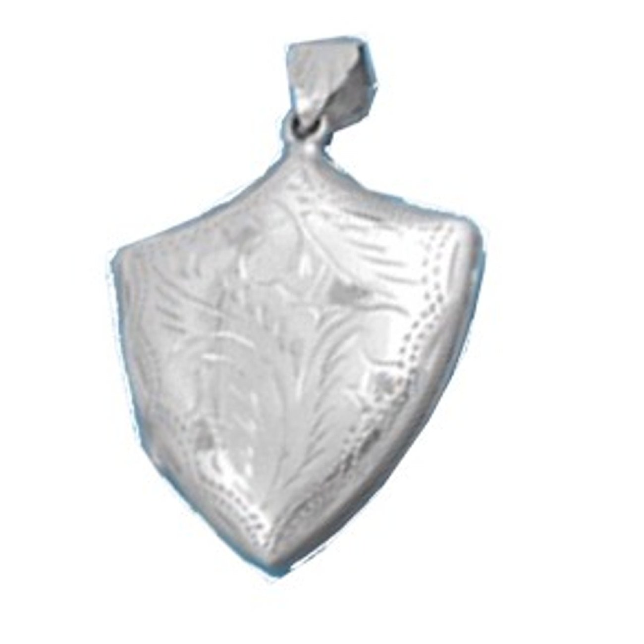 Sterling Silver Girls 24'' .8mm Box Chain Etched Two Picture Coat Of Arms Shield Locket Pendant Necklace