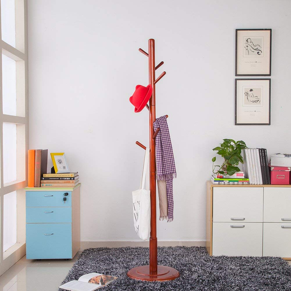 JS HOME Sturdy Wooden Coat Rack Stand, Entryway Hall Tree Coat Tree with Solid Round Base, 8 Hooks, Brown Finish