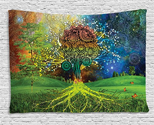 Ethnic Tapestry by Ambesonne, Tree in the Valley with Spiral Branch Balance in Mother Earth Zen Art Illustration, Wall Hanging for Bedroom Living Room Dorm, 60 W X 40 L Inches, Green (Tree Wall Hanging)