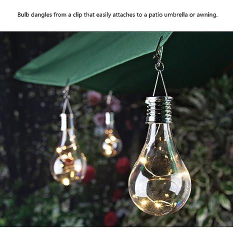 Bombillas LED solares, ABEDOE Lámpara colgante LED para jardín Bombillas IP44 Impermeable Blanco cálido exterior