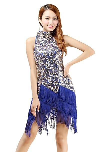 BOZEVON Mujer Salsa Latina Tassel Lentejuelas Vestido Ball Room Competencia Dancewear Primavera/Verano Todo el
