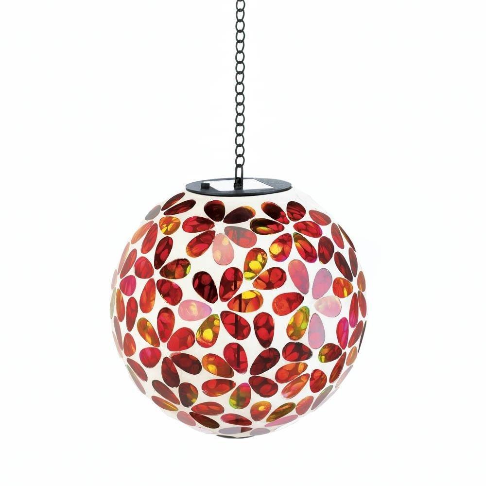Mosaic Gazing Ball, Solar Glass Garden Hanging Mosaic Light Fixtures (red)